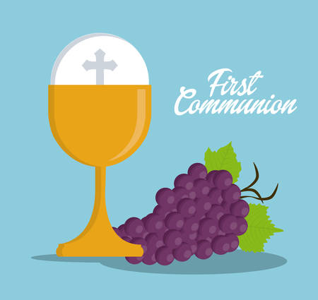 christian community: cup gold grapes religion icon. First communion concept. Flat and Colorfull illustration. Vector graphic