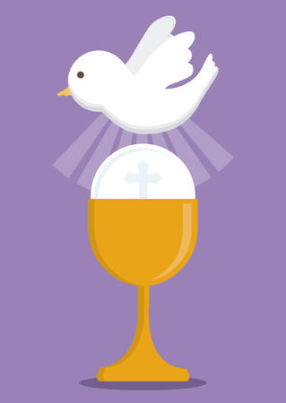 congregation: dove cup gold religion icon. First communion concept. Flat and Colorfull illustration. Vector graphic