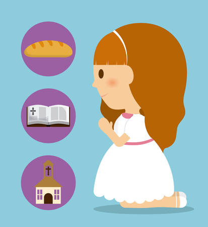 girl kid cartoon bread bible church icon. First communion concept. Flat and Colorfull illustration. Vector graphic