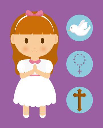 congregation: girl kid cartoon dove cross rosary icon. First communion concept. Flat and Colorfull illustration. Vector graphic