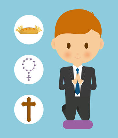 congregation: bread cross rosary boy kid cartoon icon. First communion concept. Flat and Colorfull illustration. Vector graphic Illustration