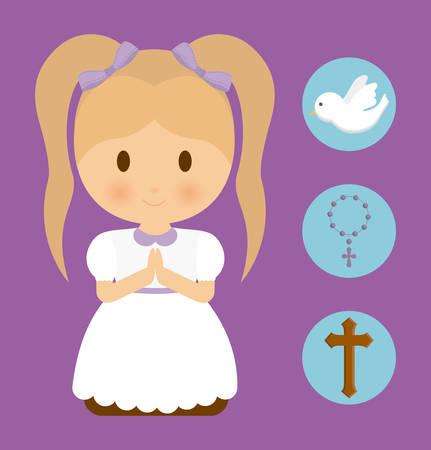 paloma cartoon: muchacha ni�o paloma de dibujos animados icono de la cruz del rosario. Concepto de la primera comuni�n. ilustraci�n plana y Colorfull. gr�fico vectorial