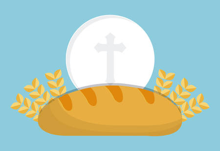 congregation: bread wheat ear icon. First communion concept. Flat and Colorfull illustration. Vector graphic