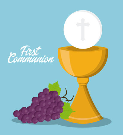 sanctuaries: cup gold grapes religion icon. First communion concept. Flat and Colorfull illustration. Vector graphic