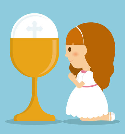 girl kid cartoon cup icon. First communion concept. Flat and Colorfull illustration. Vector graphic