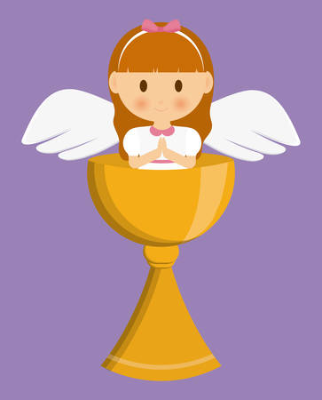 christian community: girl angel cartoon cup icon. First communion concept. Flat and Colorfull illustration. Vector graphic Illustration