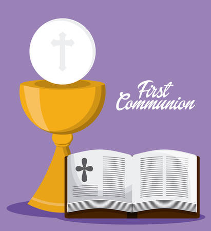 bible book: bible book cross cup  icon. First communion concept. Flat and Colorfull illustration. Vector graphic Illustration