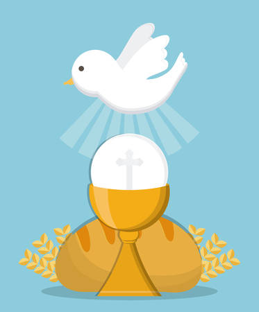 congregation: dove cup bread gold religion icon. First communion concept. Flat and Colorfull illustration. Vector graphic