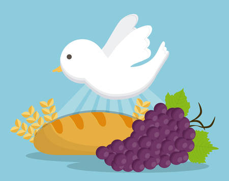grapes dove bread wheat ear icon. First communion concept. Flat and Colorfull illustration. Vector graphic