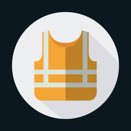 flammable: orange jacket industrial security safety icon. Circle design. Colorfull and flat illustration. Vector graphic