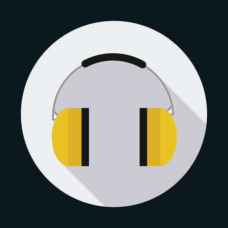 detection: headphone industrial security safety icon. Circle design. Colorfull and flat illustration. Vector graphic Illustration