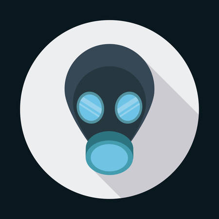 detection: Air mask industrial security safety icon. Circle design. Colorfull and flat illustration. Vector graphic
