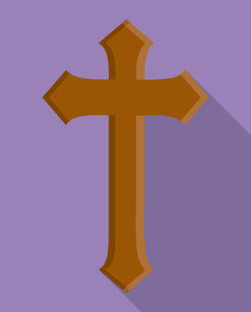 congregation: cross wood religion church icon. First communion concept. Flat and Colorfull illustration. Vector graphic