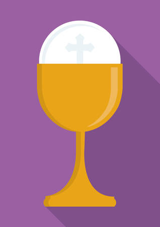 congregation: gold cup religion icon. First communion concept. Flat and Colorfull illustration. Vector graphic