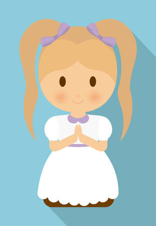 congregation: girl kid cartoon white dress icon. First communion concept. Flat and Colorfull illustration. Vector graphic