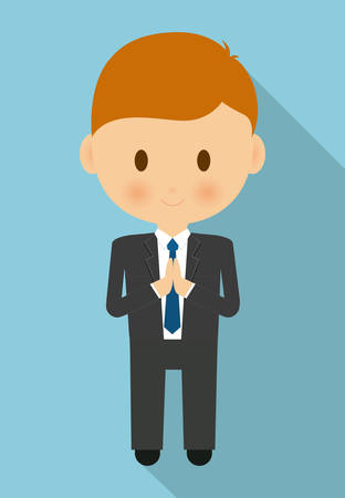 congregation: boy kid cartoon black suit icon. First communion concept. Flat and Colorfull illustration. Vector graphic Illustration
