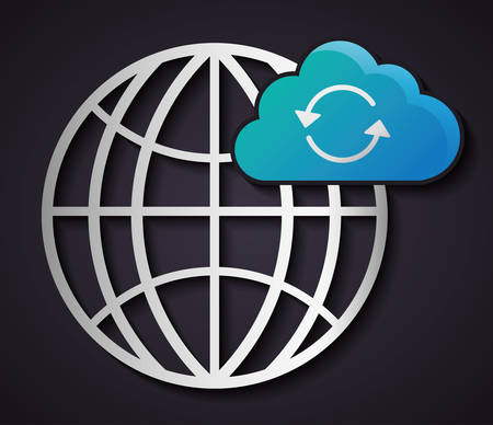 sphere base: Global sphere data center web hosting cloud computing icon. Flat and Colorfull illustration. Vector graphic Illustration