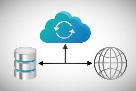 global sphere data center web hosting cloud computing icon. Flat and Colorfull illustration. Vector graphic