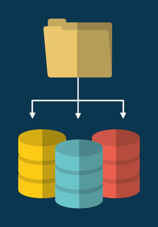 secured: File archive data center web hosting cloud computing icon. Flat and Colorfull illustration. Vector graphic Illustration