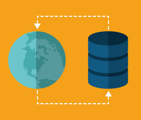 sphere base: global sphere data center web hosting cloud computing icon. Flat and Colorfull illustration. Vector graphic