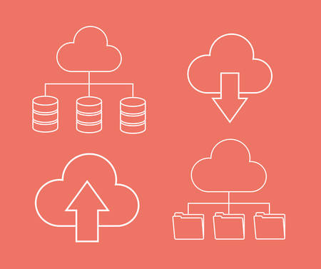 Arrow file archive data center web hosting cloud computing icon. Flat and Colorfull illustration. Vector graphic Illustration