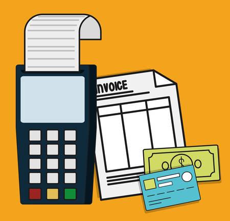 registros contables: dat�fono billetes de papel icono de documento de pago de tarjeta de cr�dito factura. ilustraci�n plana y Colorfull. gr�fico vectorial