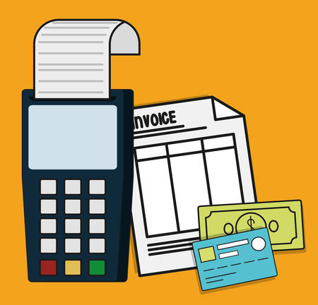account form: dataphone document paper bills credit card invoice payment icon. Flat and Colorfull illustration. Vector graphic
