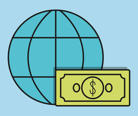 bill payment: global sphere bill invoice payment icon. Flat and Colorfull illustration. Vector graphic