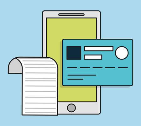 registros contables: teléfono inteligente icono de la tarjeta de crédito el pago de la factura. ilustración plana y Colorfull. gráfico vectorial