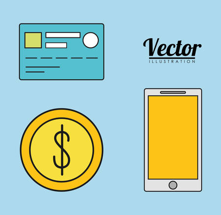 registros contables: smartphone credit card coin invoice payment icon. Flat and Colorfull illustration. Vector graphic