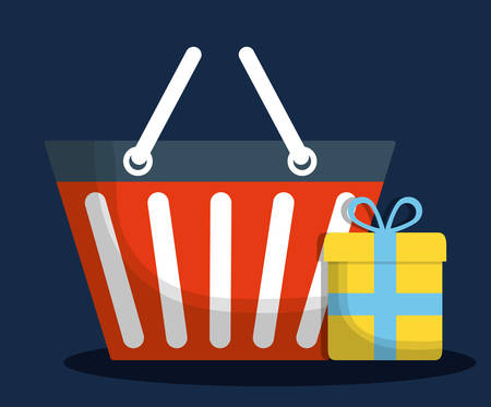 gift basket: shopping basket gift online store market icon. Flat and Colorfull illustration. Vector graphic