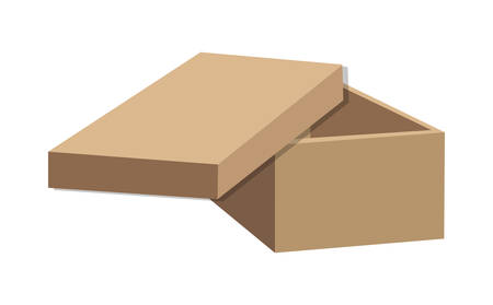 brown box: carton box package open delivery shipping logistic icon. Isolated and Brown illustration. Vector graphic