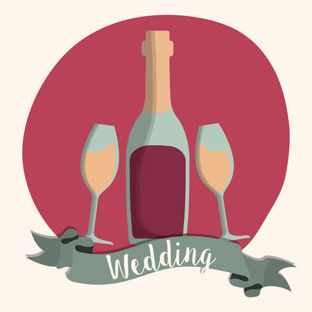 champaign: wine champaign bottle cup ribbon wedding marriage icon. Colorfull and flat illustration. Vector graphic
