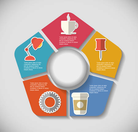 infomation: mug lamp pin gear infographic step office icon. Flat and Colorfull illustration. Vector graphic