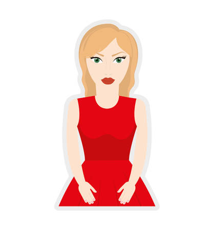 blond hair: woman girl female avatar blond hair icon. Isolated and flat illustration. Vector graphic Illustration