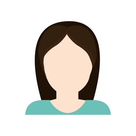 black hair girl: woman girl female avatar black hair icon. Isolated and flat illustration. Vector graphic Illustration