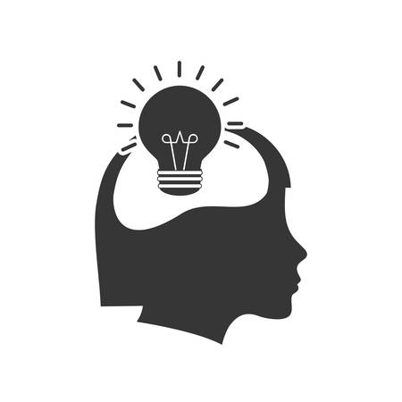 big idea: light bulb head big idea creative icon. Isolated and flat illustration.