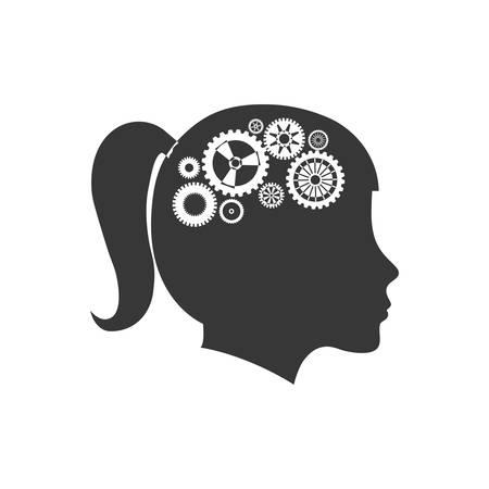 cabeza de mujer: brain female gears head silhouette idea icon. Isolated and flat illustration. Vector graphic