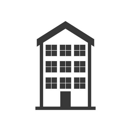 new construction: house home silhouette real estate building icon. Isolated and flat illustration. Vector graphic