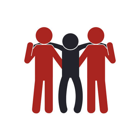 pictogram human help support icon. Isolated and flat illustration. Vector graphic