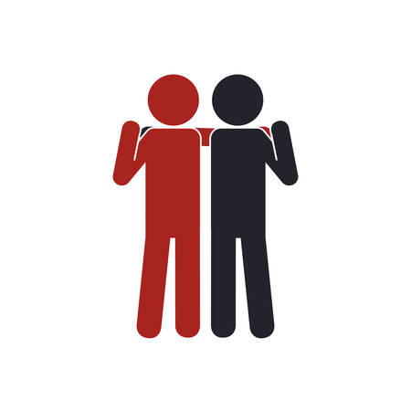 collaborative: pictogram human help support icon. Isolated and flat illustration. Vector graphic