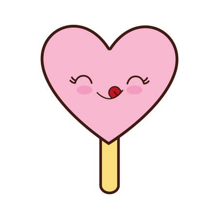 sorbet: ice cream heart dessert cartoon happy icon. Isolated and flat illustration. Vector graphic