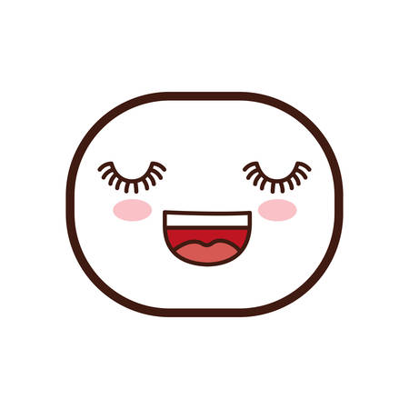 kawaii happy oval face cartoon expression icon. Isolated and flat illustration. Vector graphic