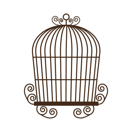 birdcage: birdcage cage silhouette vintage icon. Isolated and flat illustration, vector