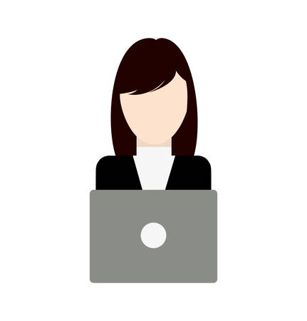 woman laptop: Businesswoman laptop avatar woman female business icon. Isolated and flat vecctor illustration