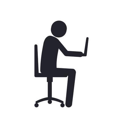 Businessman laptop pictogram man male business icon. Isolated and flat vecctor illustration