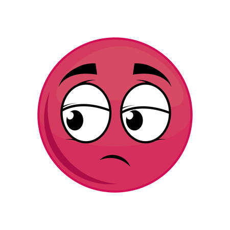 sphere sad cartoon face expression icon. Isolated and flat illustration