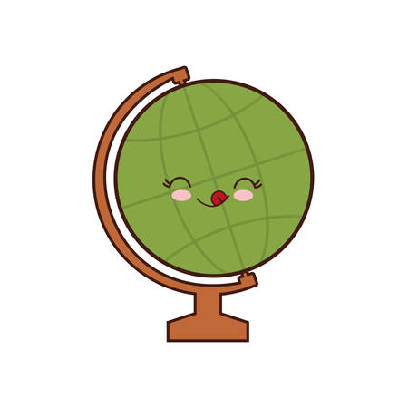 school class: global sphere class school instrument icon. Isolated and flat illustration