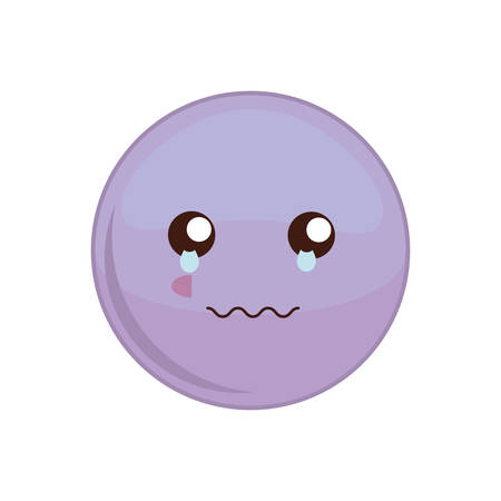 Kawaii cry sphere expression cartoon face icon. Isolated and flat illustration