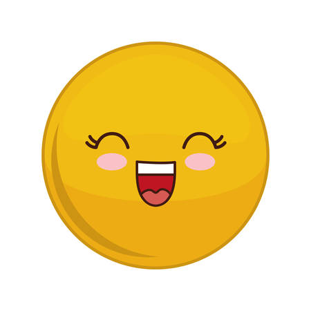 Kawaii happy sphere expression cartoon face icon. Isolated and flat illustration